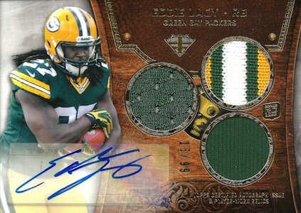 2013 Topps Triple Threads Eddie Lacy RC 122 Autographed Jersey  Image