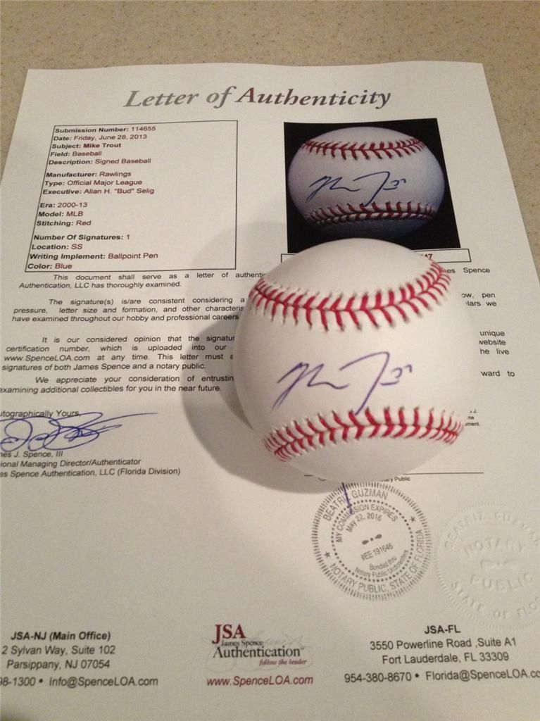 Mike Trout Signed Baseball
