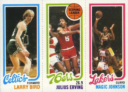 1980-81 Topps Basketball #34 Larry Bird RC, #174 Julius Erving, Magic Johnson RC #139