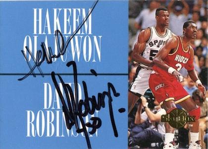 1994-95 Skybox Premium Hakeem Olajuwon, David Robinson Autograph #NNO