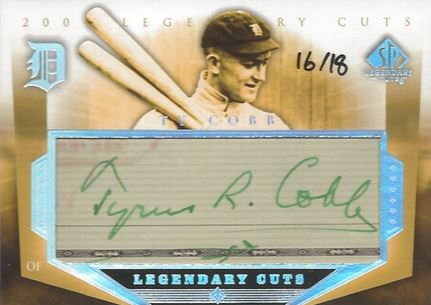 2004 SP Legendary Cuts Ty Cobb Cut Signature