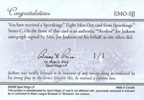 2009 Sport Kings Shoeless Joe Jackson Cut Signature Back