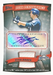 2010 Topps Series 1 Baseball Peak Performance Autographed Relics Image