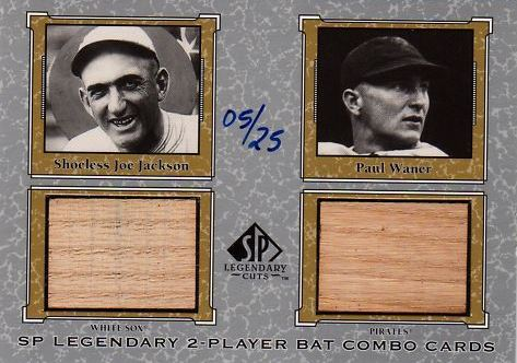 2001 SP Legendary Cuts Game Bat Combo Joe Jackson/Paul Waner #SJPW