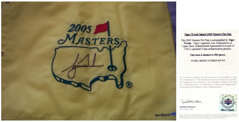 Tiger Woods Signed Golf Flag Image