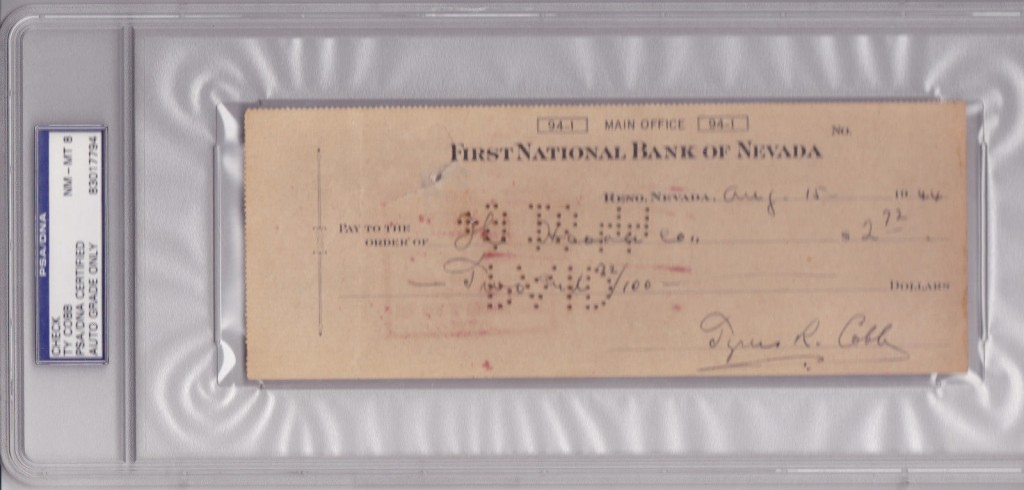 Ty Cobb Autographed Check
