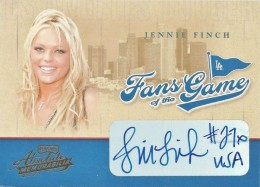 Jennie Finch Cards and Autographed Memorabilia Guide 2