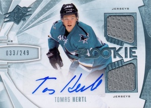 2013-14 SPx Tomas Hertl RC #203 Autographed Jersey