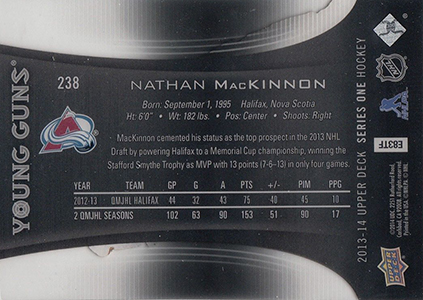 2013 14 Upper Deck Acetate Young Guns 238 Nathan MacKinnon Back Image