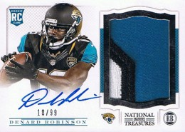 2013 Panini National Treasures Rookie Patch Autograph 206 Denard Robinson