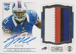2013 Panini National Treasures Rookie Patch Autograph 209 EJ Manuel