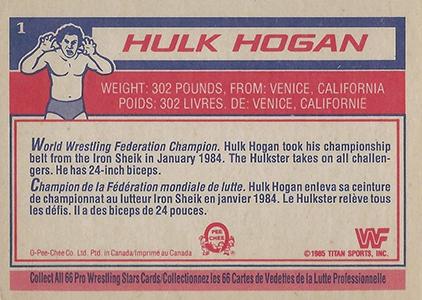 1985 O-Pee-Chee WWF Pro Wrestling Stars 1 Hulk Hogan Back