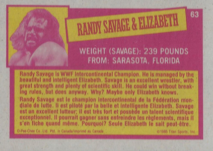 1985 O-Pee-Chee WWF Pro Wrestling Stars Randy Savage and Elizabeth Back