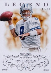 2013 Panini National Treasures Football Legend Troy Aikman