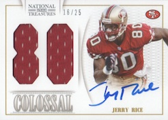 2013 Panini National Treasures Football NT Colossal Jersey Number Signatures Jerry Rice