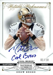 2013 Panini National Treasures Football NT Notable Nicknames Drew Brees