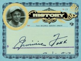 Jimmie Foxx Cut Signature Card