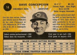 1971 OPC Dave Concepcion RC - Back