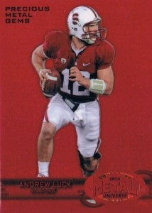 2013 Fleer Retro Football 1997-98 Metal Universe Precious Metal Gems Parallel Red Andrew Luck