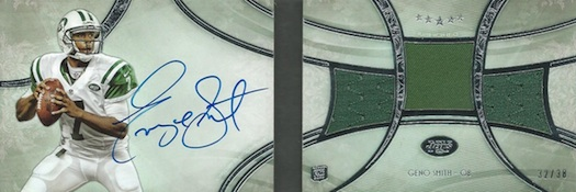 2013 Topps Five Star Football Futures Autographed 3-Piece Book Geno Smith