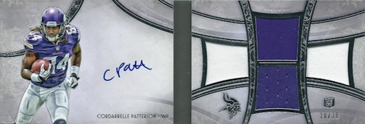 2013 Topps Five Star Football Futures Autographed 4-Piece Book Cordarrelle Patterson