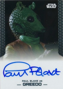 2014 Topps Star Wars Chrome Perspectives Autographs Paul Blake as Greedo