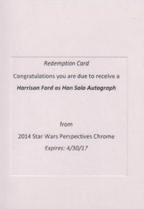 2014 Topps Star Wars Chrome Perspectives Gold Refractor Autographs Harrison Ford Redemption