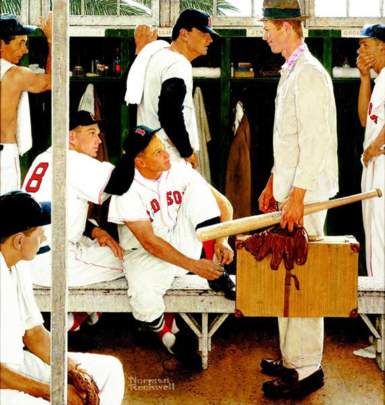 Norman Rockwell The Rookie Painting
