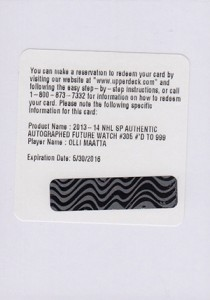 2013-14 SP Authentic 305 Olli Maatta Redemption
