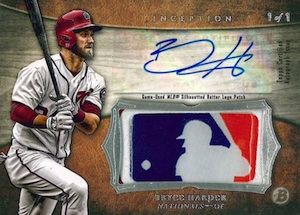 2014 Bowman Inception Baseball Autographed MLB Silhouetted Batter Logo Patch Bryce Harper