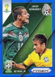 2014 Panini Prizm World Cup Matchups Neymar Chicharito Blue Prizm Parallel