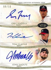 2014 Topps Tier One Baseball Triple Autographs Glavine Smoltz Maddux