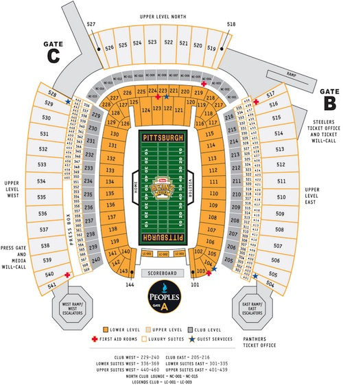 Pittsburgh Steelers Heinz Field Seating Chart