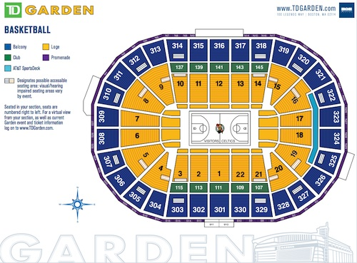 TD Boston Garden Celtics Seating Chart