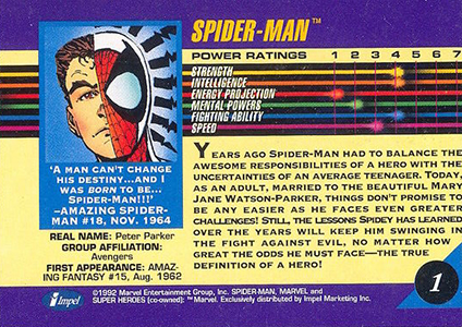 1992 Marvel Universe 3 Base Spider-Man Back