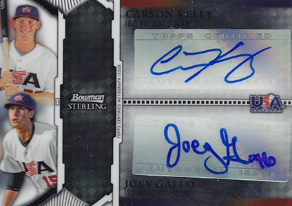 2011 Bowman Sterling USA Dual Autographs Joey Gallo Carson Kelly