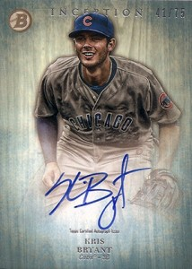 2014 Bowman Inception Prospect Autographs Green Kris Bryant