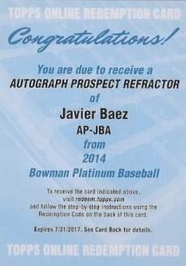 2014 Bowman Platinum Baseball Prospect Autographs Javier Baez Redemption