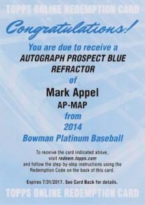 2014 Bowman Platinum Baseball Prospect Autographs Mark Appel
