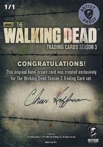 Walking Dead Season 3 Sketch Card Chris Hoffman AP Back