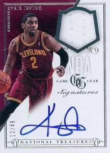2013-14 Panini National Treasures Basketball NBA Game Gear Signatures Kyrie Irving