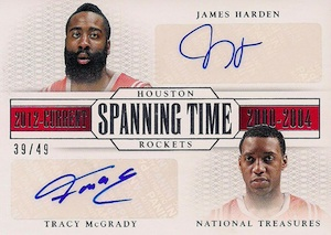 2013-14 Panini National Treasures Basketball Spanning Time Dual Signatures Harden McGrady