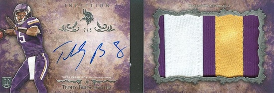 2014 Topps Inception Football Autograph Patch Books Teddy Bridgewater