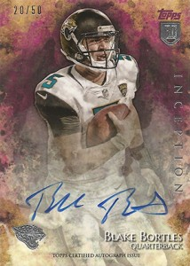 2014 Topps Inception Football Rookie Autographs 20 Blake Bortles 50