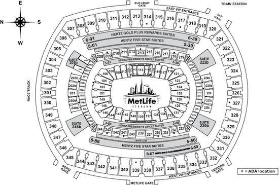 New York Giants Met Life Stadium Seating Chart