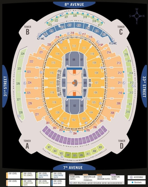 New York Knicks Madison Square Garden Seating