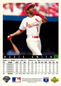 1993 Upper Deck Baseball Base Ozzie Smith Back