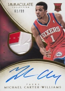 2013-14 Panini Immaculate Collection Basketball Rookie Patch Autographs Michael Carter-WIlliams RC