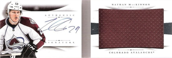 2013-14 Panini National Treasures Hockey Rookie Jumbo Jersey Booklet Autograph MacKinnon