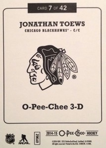 2014-15 O-Pee-Chee Hockey 3-D 7 Jonathan Toews Back